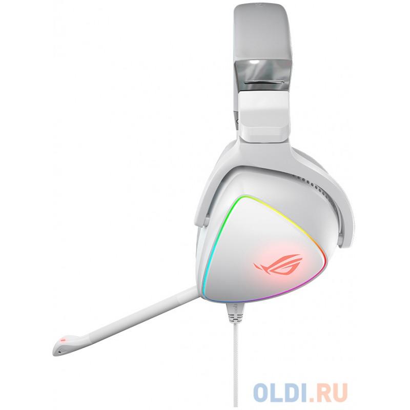 ASUS ROG Delta белые Игровые наушники (USB Type-C + A, RGB подсветка, 50 мм неодимовые магниты, 32 Ом, 20 ~ 20000 Гц, микрофон, 90YH02HW-B2UA00)