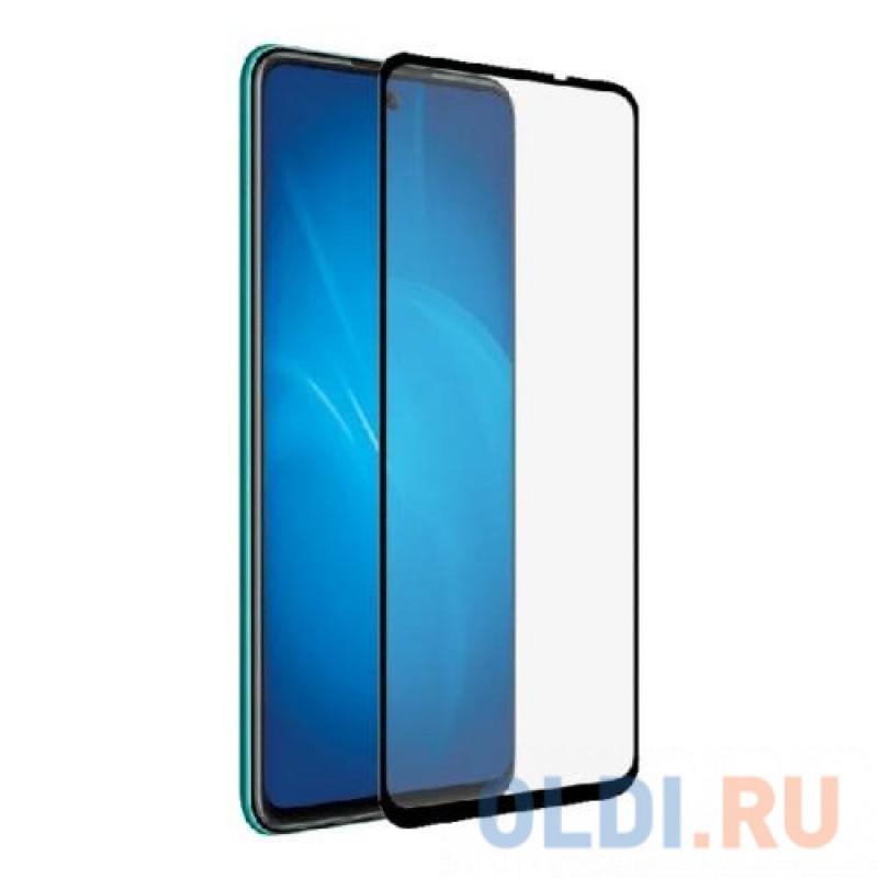 Закаленное стекло с цветной рамкой (fullscreen+fullglue) для Huawei P Smart 2021/Honor 10X Lite DF hwColor-124 (black)