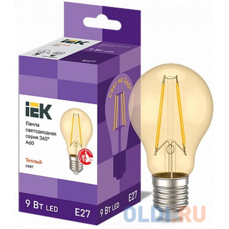 Iek LLF-A60-9-230-30-E27-CLG Лампа LED A60 шар золото 9Вт 230В 2700К E27 серия 360°