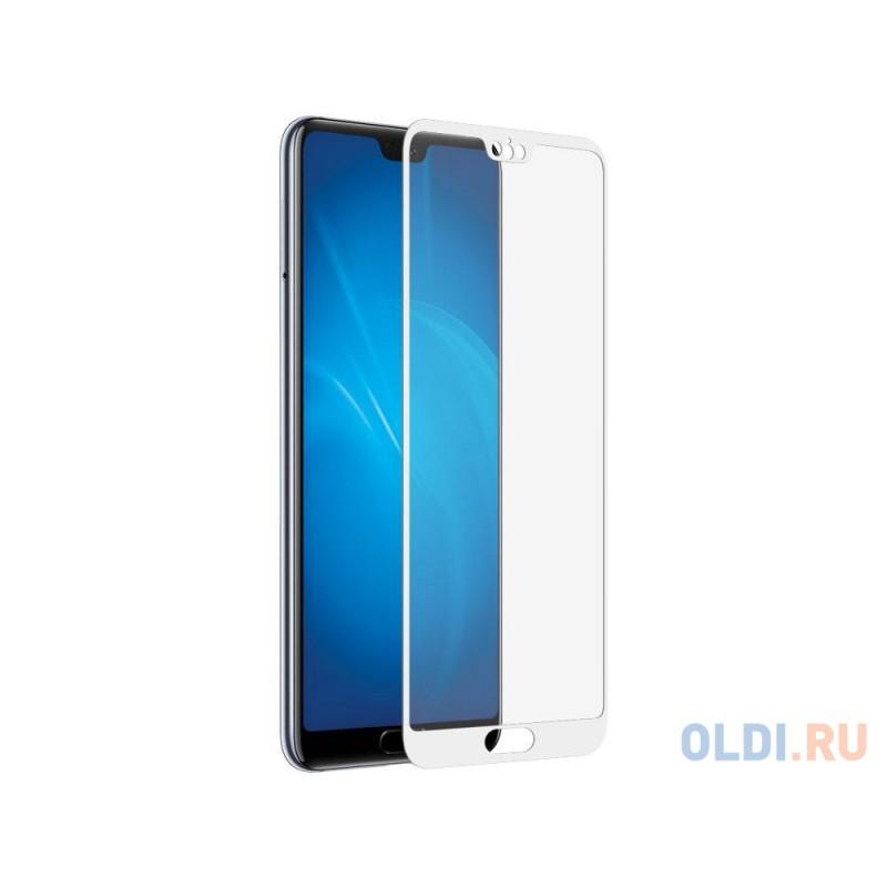 Закаленное стекло с цветной рамкой (fullscreen) для Huawei P20 Plus/Pro DF hwColor-41 (white)