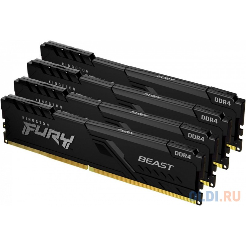 Модуль памяти DDR 4 DIMM 64Gb PC25600, 3200Mhz, Kingston FURY Beast Black CL16 (Kit of 4) (KF432C16BB1K4/64) (retail)