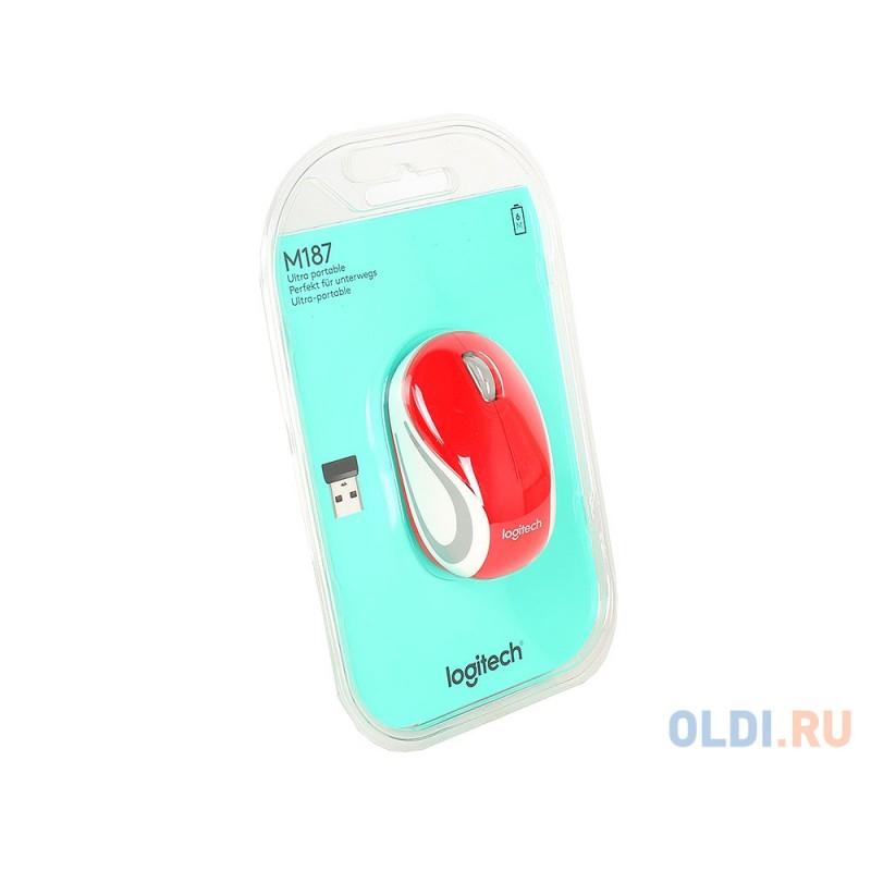 Мышь (910-002732) Logitech Wireless Mini Mouse M187, Red