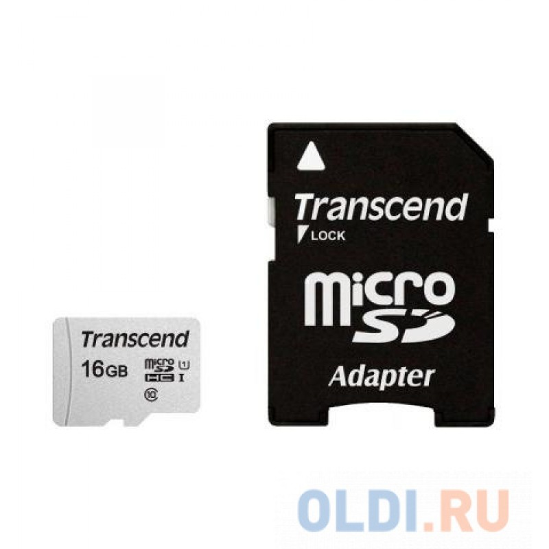 Карта памяти MicroSDHC 16Gb Transcend S300 Class10 UHS-1, U1+ адаптер [TS16GUSD300S-A]