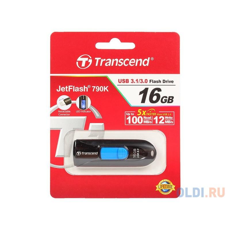 USB флешка Transcend JetFlash 790K 16Gb Black (TS16GJF790K)