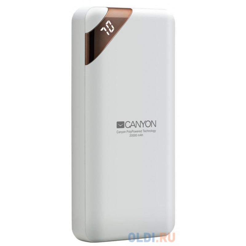 Зарядное устройство CANYON CNE-CPBP20W 20000mAh  Li-pol, In 5V/2A, Out 5V/2.1A(Max), Smart IC and power display, Белый, кабель 0.25m,