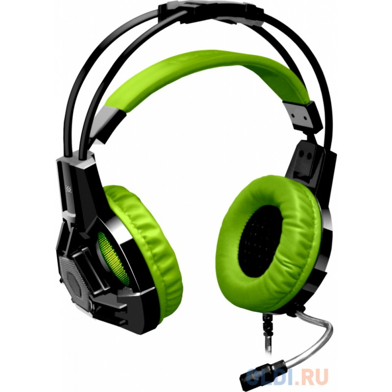 НОВИНКА. Игровая гарнитура Lester черный + зеленый, кабель 2,2 м